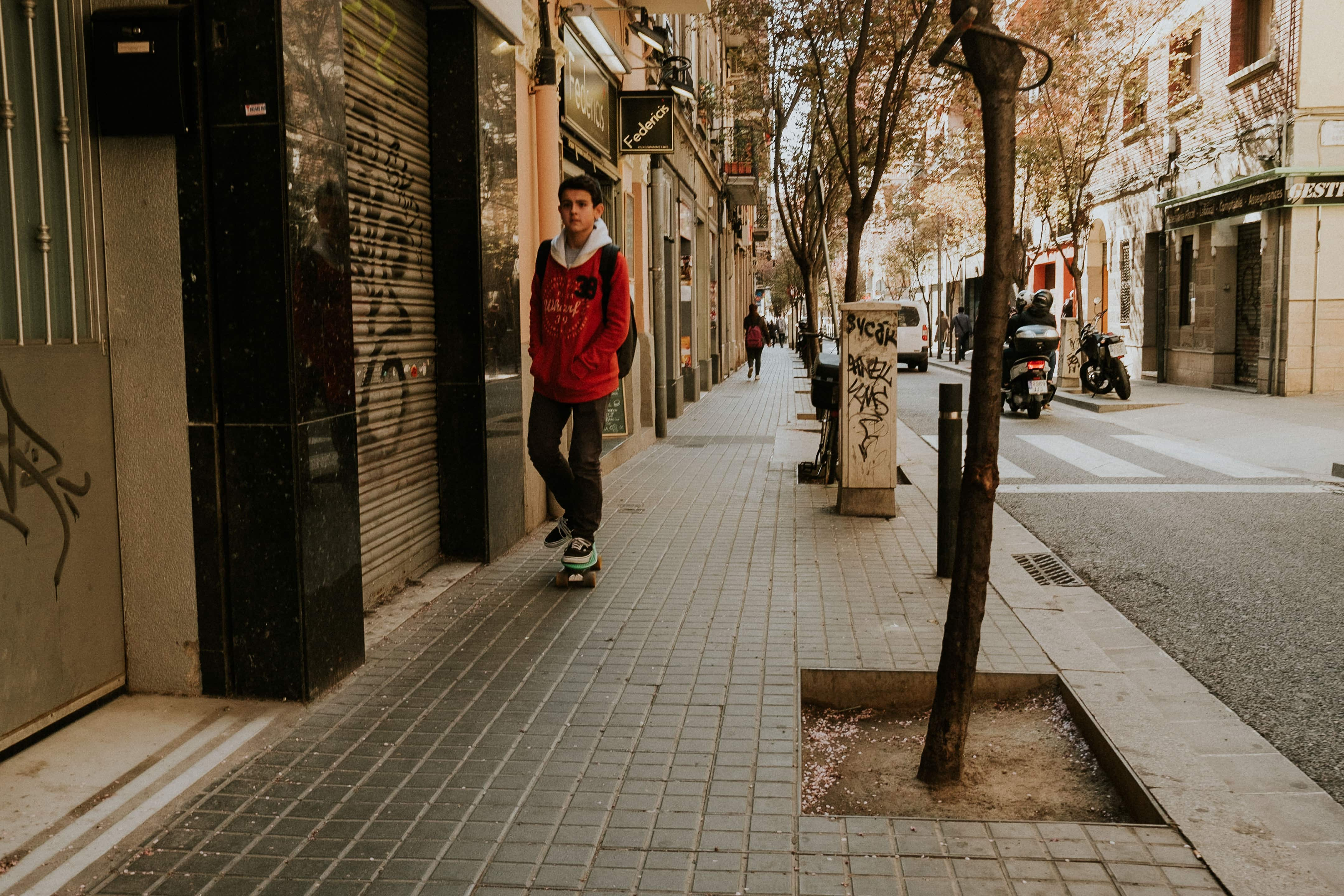 Young boy skating in Barcelona