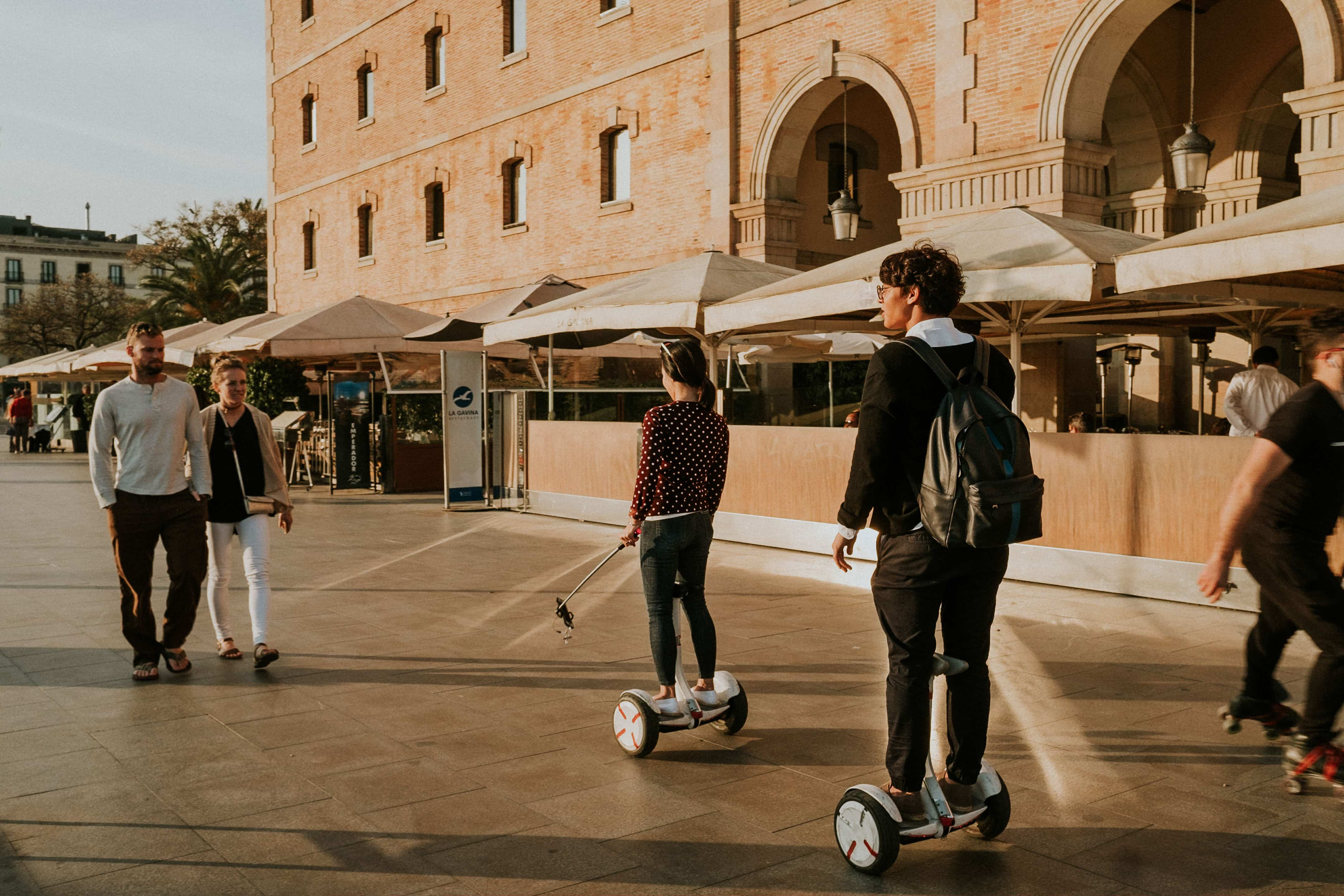 two tourists on segways in Barcelona