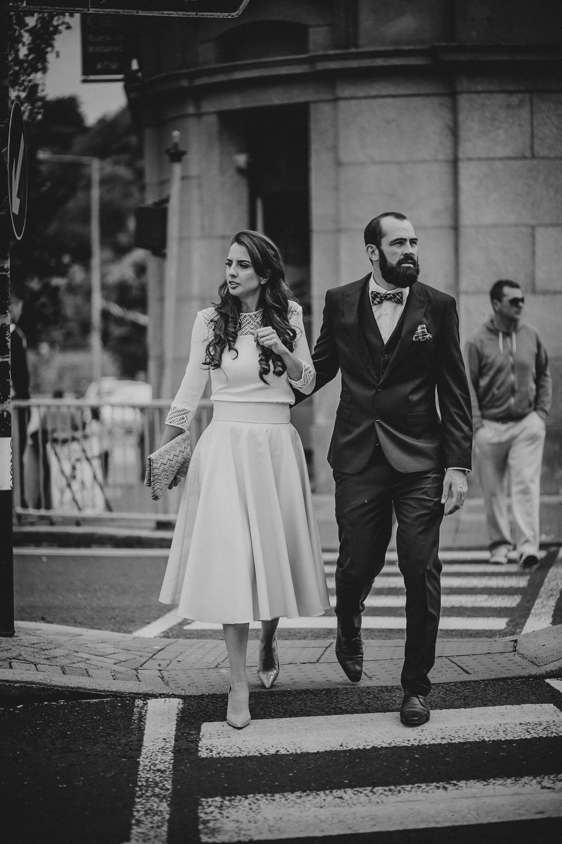 Bride & Groom cross the street, Wexford, Ireland