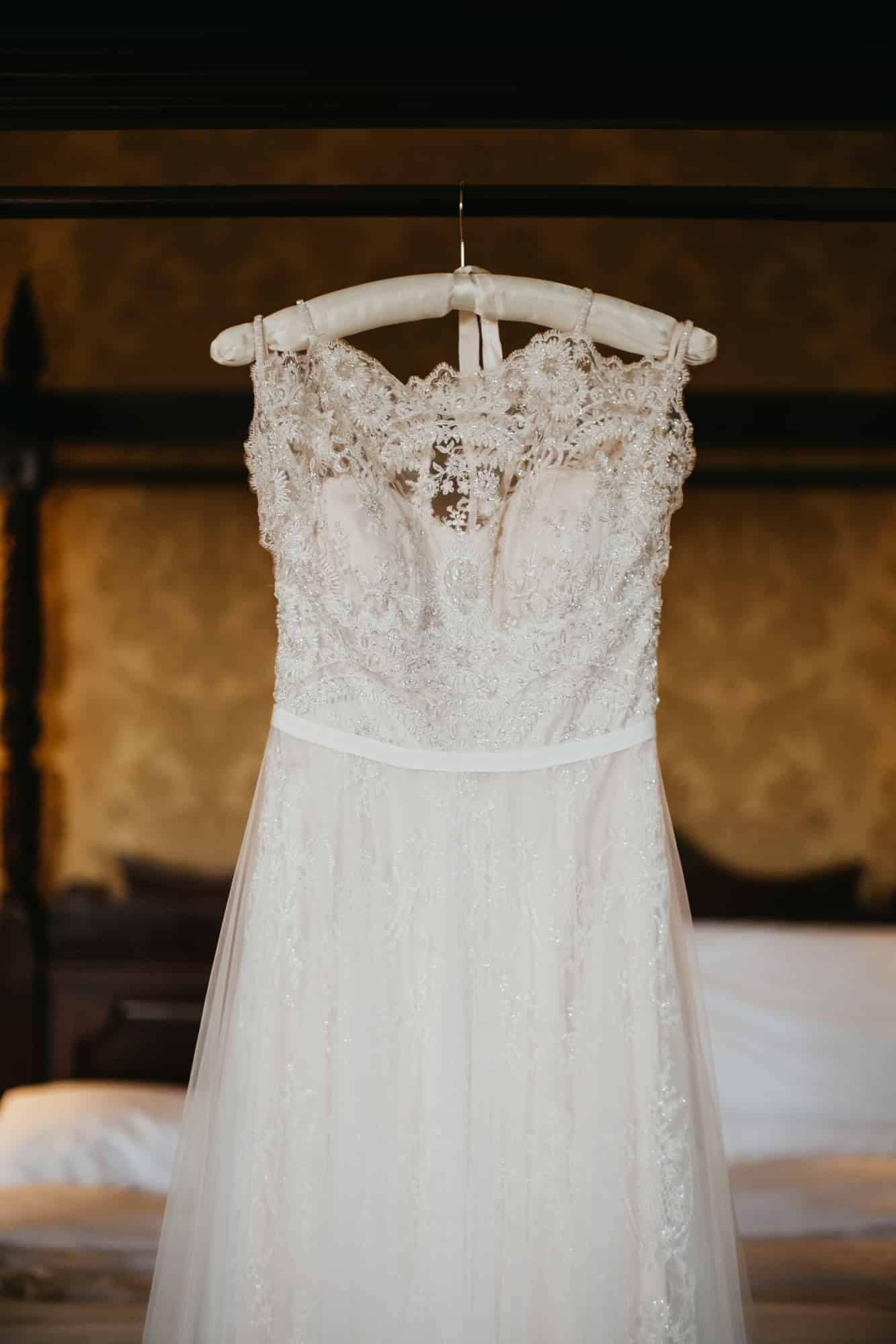 detail shot of the bride's wedding dress