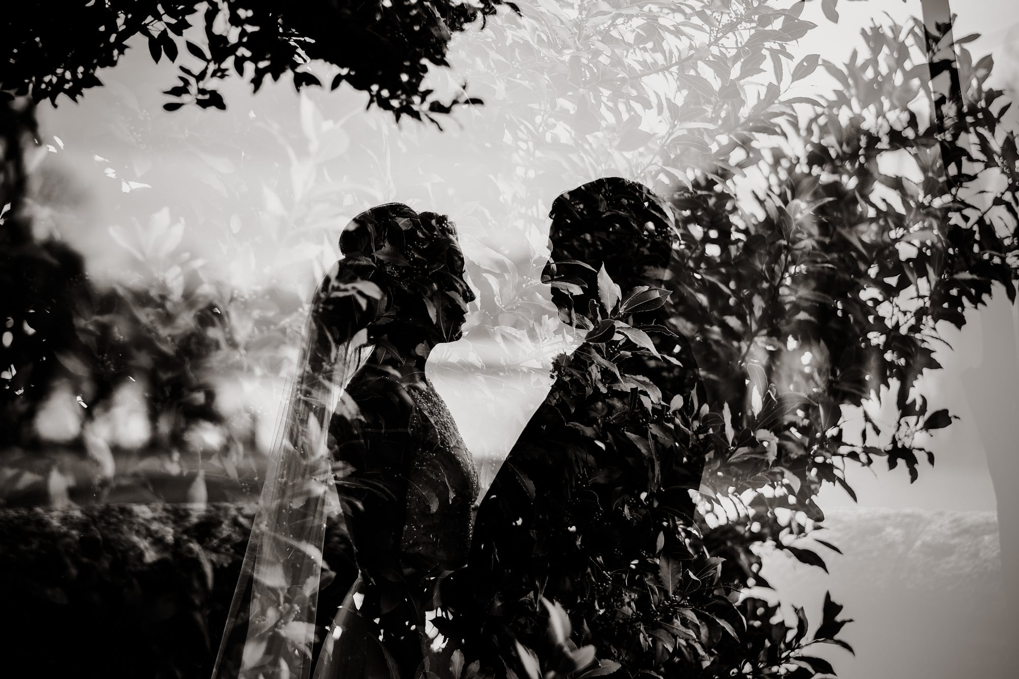 Double Exposure of the bride & Groom